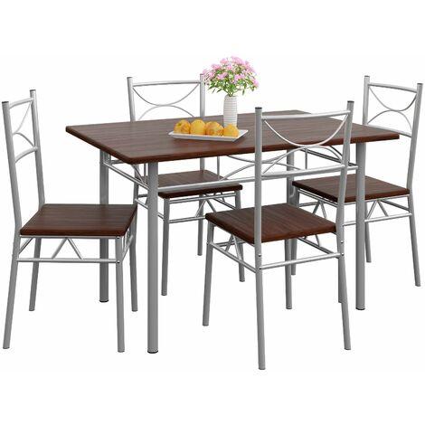Casaria Set Tavolo Con 4 Sedie Per Cucina Soggiorno Sala Da Pranzo Eiche Dunkel De