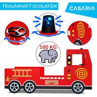 Letto per bambini lettino design Vigili del fuoco stile pompieri 200x90 cm legno con rete a doghe ruote 3D sirena e manubrio