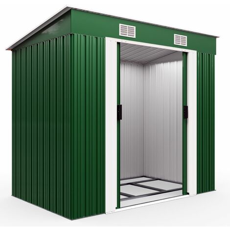 Abri de jardin en métal vert Cabane Remise Rangement outils - avec ventilation