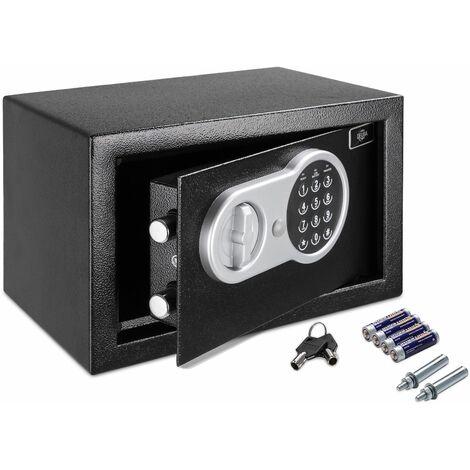 Deuba Coffre-fort électronique Serrure à combinaison 4 Piles Sécurité numérique Coffre fort code et clé 31x20x20cm Noir