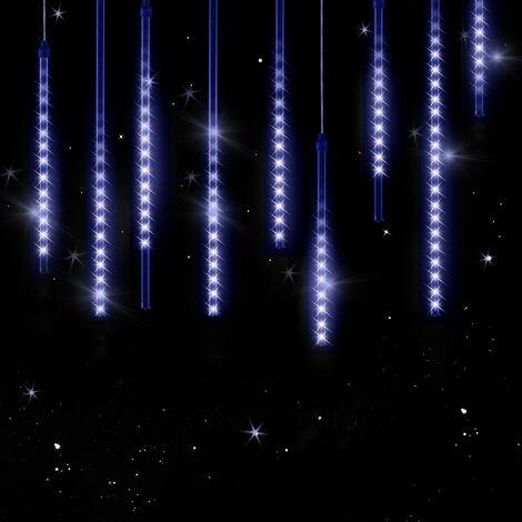 Guirlande lumineuse LED 8,6 m 480 LED effet pluie de météorites gouttes diamants stalactite IP 44 intérieur extérieur Noël - modèle au choix Bleu