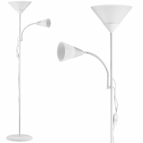 Lampadaire sur pied avec liseuse Luminaire Lampe orientable 175 cm Blanc ou noir Blanc
