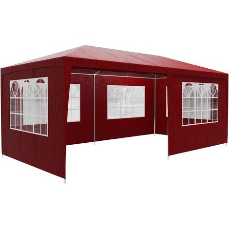 Tonnelle de jardin Rimini 3x6m avec toile hydrofuge 6 parois latérales enroulables Barnum Tente de réception fête extérieur Rouge (Protection UV)