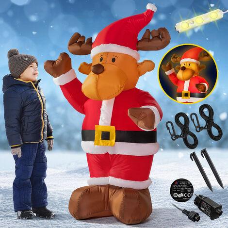 Renne de Père Noël gonflable Décoration de noël Intérieur Extérieur IP44 6 LED 70x80x135cm pompe électrique incluse