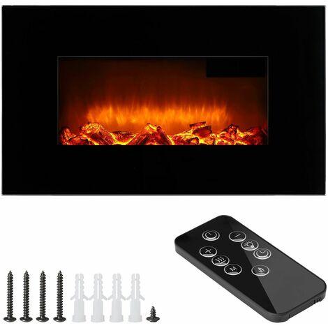 Cheminée murale électrique noir max. 1800 W télécommande effet flamme illusion écran tête haute fonction chauffage minuterie…