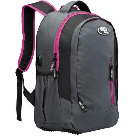 Sac à dos 35L randonnée montagne sport vacances école enfant port USB Tissu 600D Oxford sac ordinateur portable nombreux compartiments bretelles rembourrées Pink