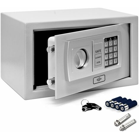 Deuba Coffre-fort électronique Serrure à combinaison 4 Piles Sécurité numérique Coffre fort code et clé 31x20x20cm Gris