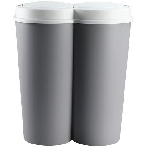 Double poubelle–Duo Poubelle Poubelle 2x 25 litres + Bouton Pression automatique– couleur au choix grau - grey - gris (de)