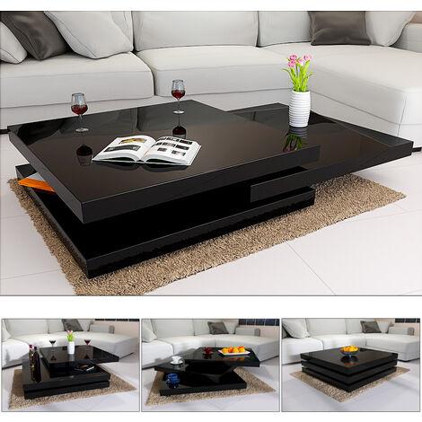 Table Basse De Salon 76x76cm Ou 60x60cm Carre Moderne Blanc Ou Noir Rotative 360 Brillante Et Laquee Charge Max 20 Kg Design Innovant Table Interieur Noir 60cm 106586