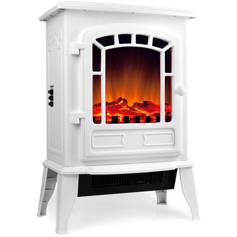 Cheminée électrique Chauffage radiateur soufflant LED effet feu de cheminee Blanc