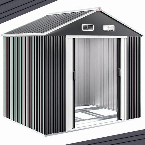 Abri de jardin en métal 5m² avec cadre de sol Cabane de jardin anthracite Remise cabanon rangement outils vélos