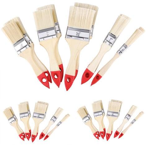 Set de 30 pinceaux nature/rouge professionnels 5 tailles différentes peinture maison travaux divers intérieur extérieur zones vastes ou difficile d'accès