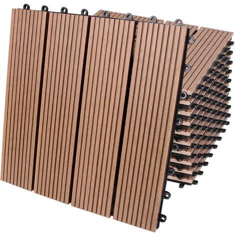11x 22x 44x Dalles clipsables en bois composite WPC 30 x 30 cm - Modèle au choix 11x Klassik terrakotta (de)