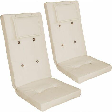 2x Coussin de chaise avec Dossier haut, Repose-tête et attaches Ultra moelleux  Crème