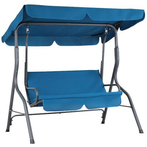 Balancelle de jardin avec toit réglable max. 200kg cadre acier couleur au choix Bleu