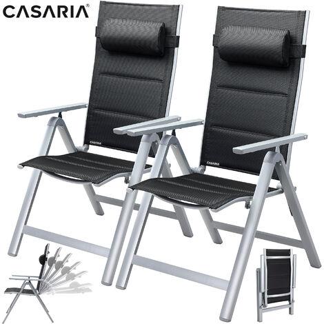 Set de 2 chaises de jardin dossier haut Terrasse Balcon Chaises de jardin Anthracite Argent Argent