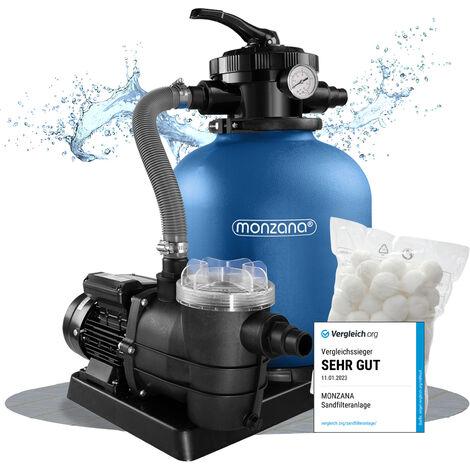 Pompe filtre à sable 10.200 l/h système filtration piscine boules filtrantes 700g