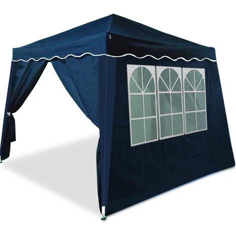 Tonnelle Tente pliante 3x3m avec 4 parois latérales pavillon pliable jardin Bleu Sac de transport inclus