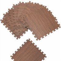 Tapis puzzle aspect bois 8 pièces gris ou brun Tapis de sol protection 45 x 45 cm anti-dérapant bruit hydrofuge Beige