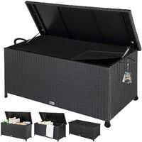Coffre de rangement stockage noir 122x56x61cm Malle avec poignées et roues