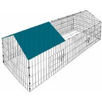 Enclos Lapin Métal Extérieur Parc Clapier à lapin 180x75cm Toit Amovible Bache Protection UV inclus Vert