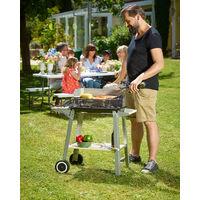 Deuba Barbecue mobile avec grille réglable avec roues et poignée 83 x 44 x 87 cm Métal et bois BBQ, grillades cuisson