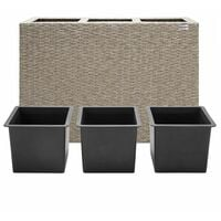 Deuba   Bac à fleurs • polyrotin • couleur au choix • 3 compartiments • 83x30,5x60 cm   Pot fleurs, bac vertical, intérieur, extérieur Crème