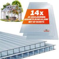 Plaque de polycarbonate creux 10,25 m² (soit 14 unités) Plaques à double paroi 4mm d'épaisseur