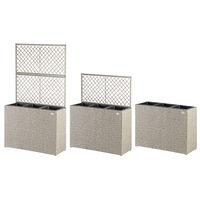 Jardinière en polyrotin avec treillis Set de 3 pots de fleurs Couleur au choix Crème
