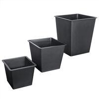 Set de 3 pots de fleurs bac à fleurs polyrotin pot intérieur amovible 3 couleurs résistant aux intempéries et UV design élégant intérieur et extérieur Noir