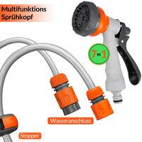 Enrouleur automatique de tuyau d'arrosage 30+2m 7en1dévidoir eau pivotable 180°