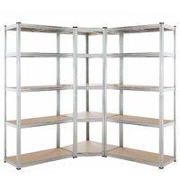 Set de 3 étagères charges lourdes 875 kg par étagère 15 plateaux acier zingué