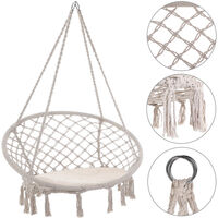Chaise suspendue Ø60cm Siège fauteuil hamac Charge max. 150 kg - Coussin inclus Beige