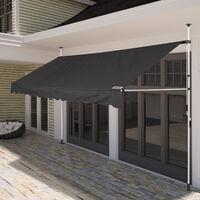 Store banne Manuel Rétractable Auvent balcon Terrasse Marquise Sans perçage Manivelle Hauteur réglable Anthracite, 150cm (de)