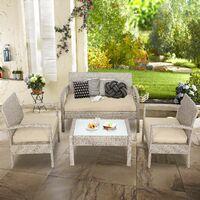 Casaria Salon de jardin en polyrotin Beige Coussins amovibles Mobilier de jardin