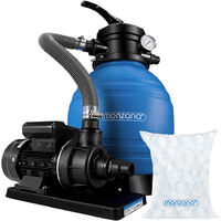 Pompe filtre à sable 10,2 m³ système filtration piscine boules filtrantes 700g