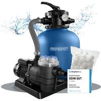 Pompe filtre à sable 11.000 l/h système filtration piscine boules filtrantes 700g