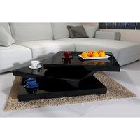 Table basse de salon max. 20kg noir moderne carré 60x60cm laqué rotative 360°