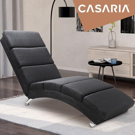 Casaria Relaxliege Liegesessel London Wohnzimmer Ergonomisch 186x55cm Modern Relaxsessel Liegestuhl Stoff Anthrazit Tejido Antracita