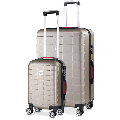 Monzana® 2er Kofferset Koffer | TSA Schloss| M und XL|  Reisekoffer Handgepäck Trolley Case Champagner