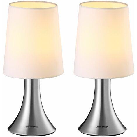 Monzana® Tischlampe 2er Set Nachttischlampe Design Tischleuchte Touch 3 Helligkeitsstufen Wohnzimmerlampe Leuchte Lampe 2er Set Cahaya