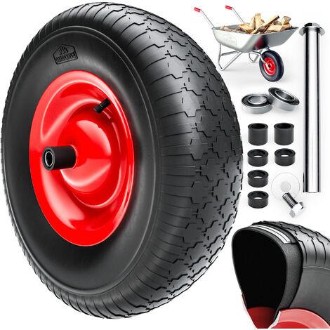 Schubkarrenrad Ersatzrad Gartenkarre 4.80/4.00-8 Ø 390mm 200 kg Schubkarrenreifen Achse Felge luftbereift
