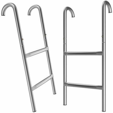 Monzana Trampolinleiter 66/76/90/110 cm 2-3 Stufen UV-beständig flexibel montierbar Sicherheitsleiter Einstiegsleiter 66cm - 2 Metallstufen