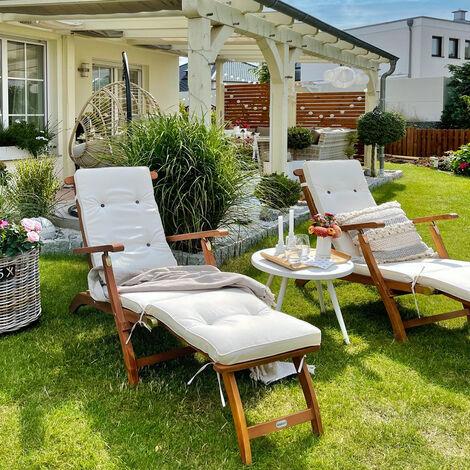 2x Sonnenliege Queen Mary Liege Akazien Holz Verstellbare Ruckenlehne Abnehmbares Fusssegment Sonnenstuhl Deckchair Holzliege Gartenliege Liegestuhl