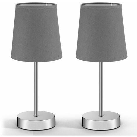 Monzana Nachttischlampe 2er Set Anthrazit Tischleuchte 32cm Stoffschirm Tischlampe
