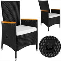 Casaria Poly Rattan Sitzgruppe Verona Premium 8 Gartenstühle Rückenlehne Neigbar 7cm Auflagen Tisch 190x90 cm Akazie Holz Set