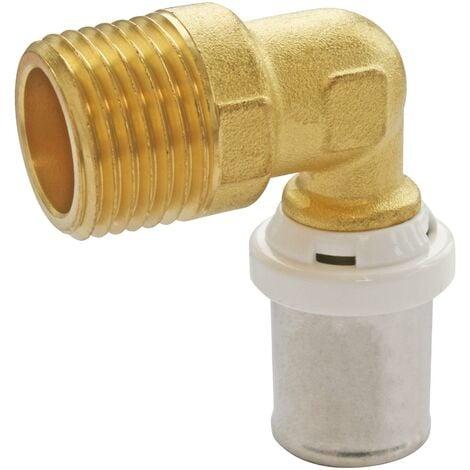 Coude à sertir pour tube Multicouche Ø16 - M15/21