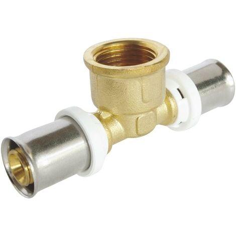 Té à sertir pour tube Multicouche Ø20 - Femelle 20/27 au centre: Ø20-F20/27-Ø20