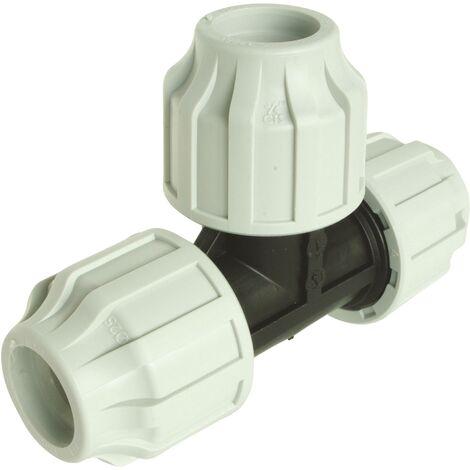 Té égal Plastique pour tube PE D50 - Serrage extérieur