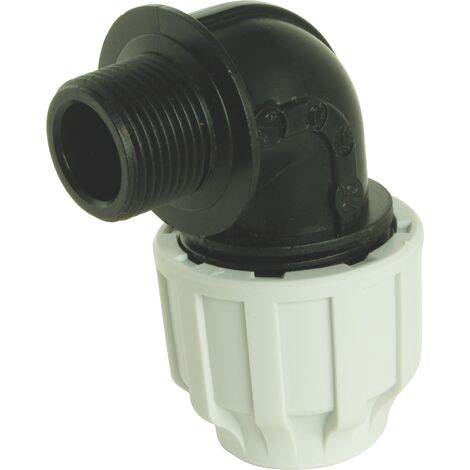 Coude Mâle Plastique pour tube PE D20 - M15/21 - Serrage extérieur